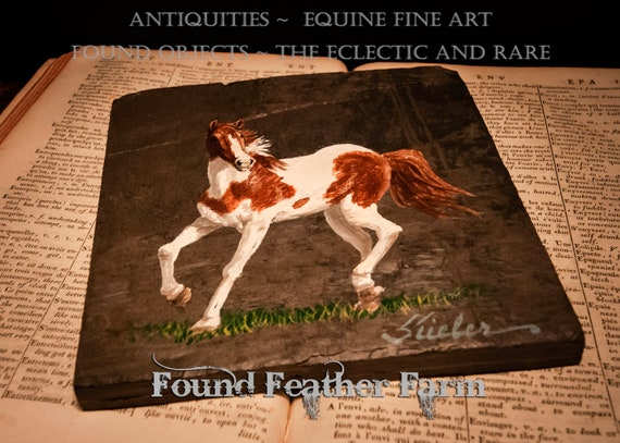 Handpainted Painted Horse on a Slate Trivet Signed by the Artist