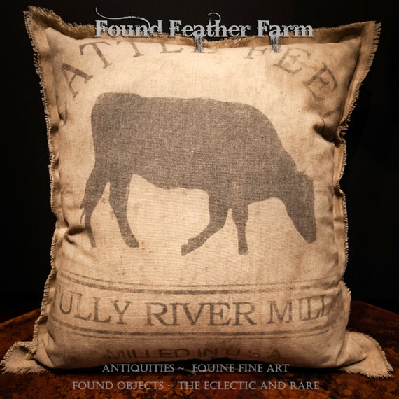 Vintage Handmade Reproduction Tully River Mills Cattle Feed Sack Pillow