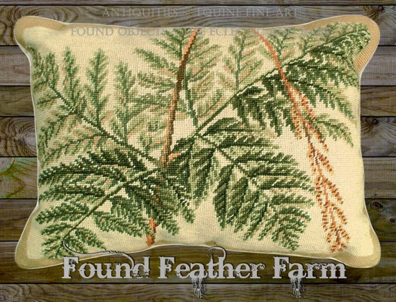 "Handmade Wool 20"" x 16"" Needlepoint Pillow of a Beautiful Forest Ferns with Down Fill"