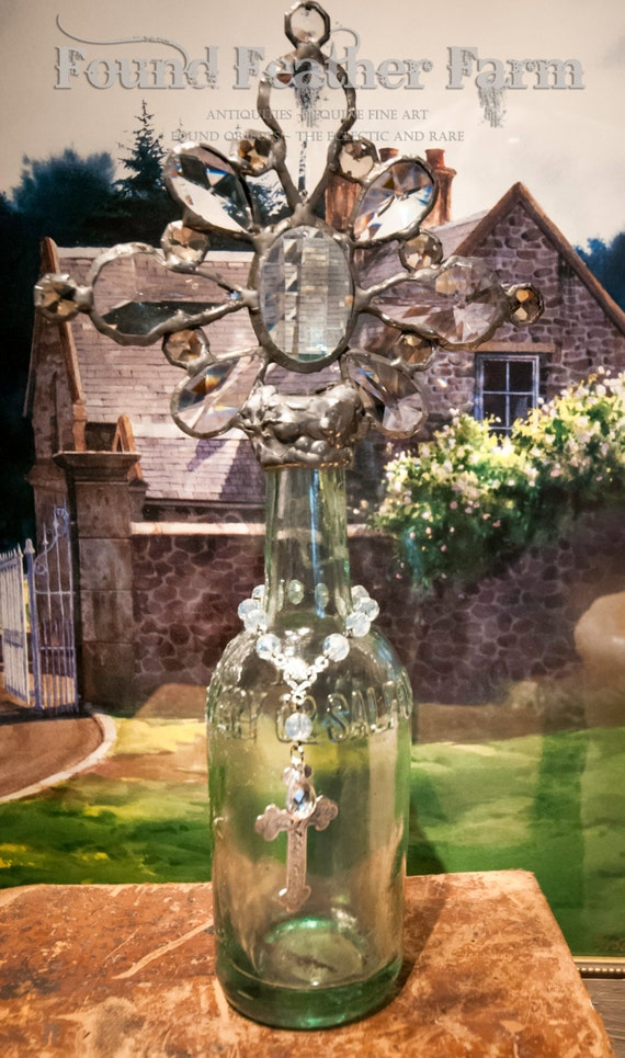 Handmade Glass Cross Bottle with an 1800's Era Antique Glass Bottle Base from England ~ The Cotswold Collection