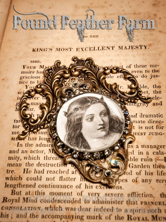 Handmade Magnet with a Jeweled Embellished Glass Cabochon Featuring a Victorian Woman