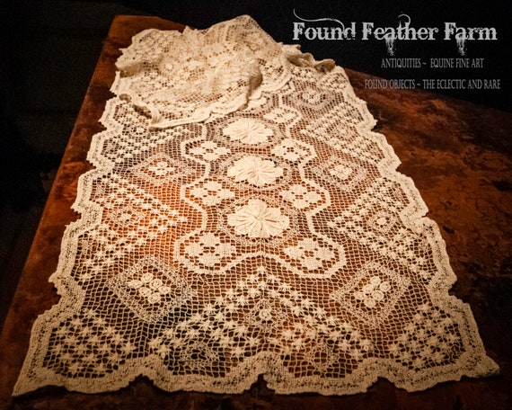 Vintage Crocheted Tuscany Lace Table Runner
