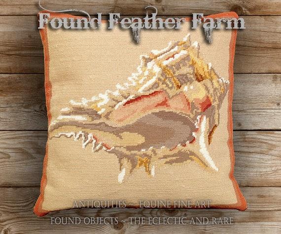 Handmade Needlepoint Pillow Featuring a Beautiful Murex Seashell with a Down Insert