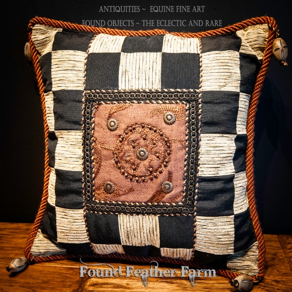 Vintage Handmade Chenille Tapestry Pillow with Wooden Tassels