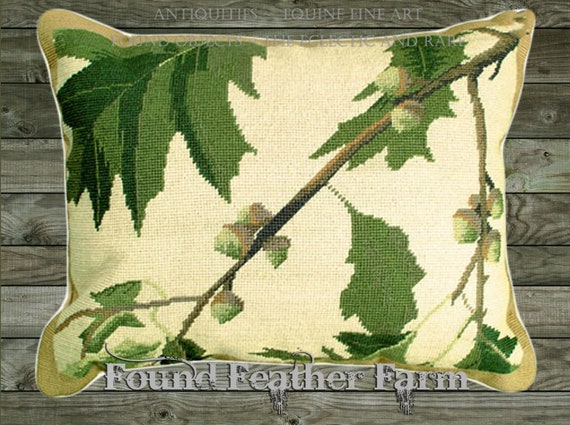 "Handmade Wool 20"" x 16"" Needlepoint Pillow of Oak Leaves and Acorns with Down Fill"