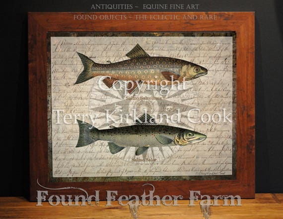 """Compass and Fish ~ Original Vintage Art Collage 20"""" x 24"""" Framed Giclee Print"""