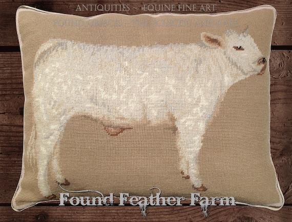 """Handmade Wool 20"""" x 16"""" Needlepoint Pillow of an Charolais Calf with Down Fill"""