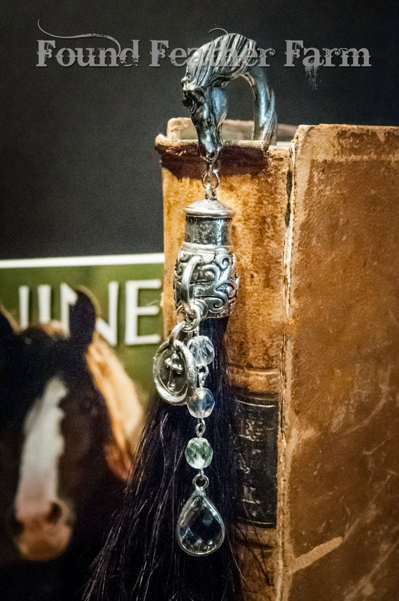 Handmade Horsehair Tassle with a Pewter Horsehead Bookmark Embellished with Crystals, Czech Beads and A Sterling Silver Cross Seal