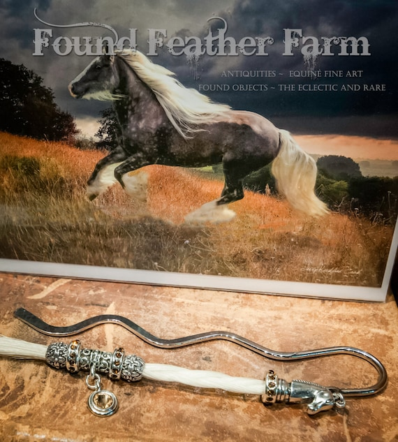Handmade Horsehair Tassel Bookmark with Sterling Silver Charms and Swarovski Crystals