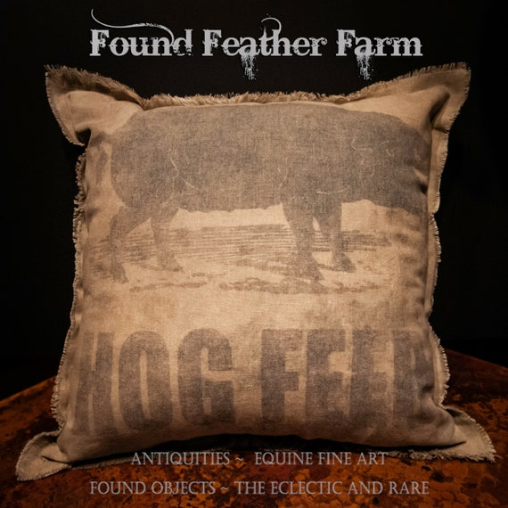 Vintage Handmade Reproduction Hog Feed Sack Pillow