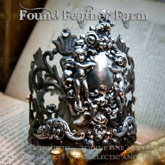 Handmade Crown with Silver Metal Lace Trim and Silver Cherub Detail