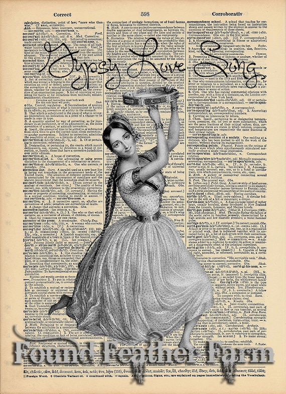 "Vintage Antique Dictionary Page with Antique Print ""Gypsy Love Song"""