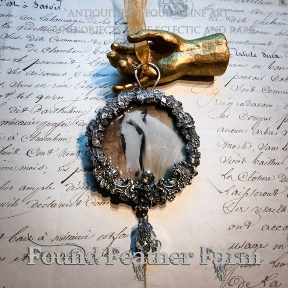 Handmade Gilded Solder Equine Pendant or Ornament Featuring a Gypsy Vanner Horse