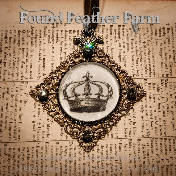 Handmade Ornament with a Jeweled Embellished Glass Cabochon Featuring an English Crown Image