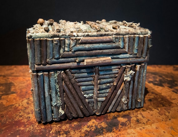 Handmade Rustic Twig Box with Native American Images