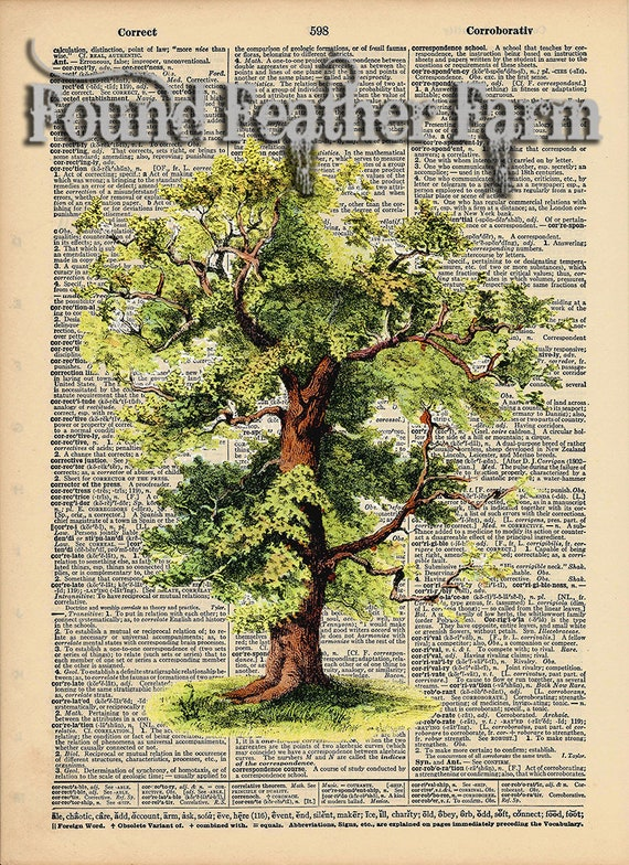 """Vintage Antique Dictionary Page with Antique Print """"The Mighty Oak"""""""