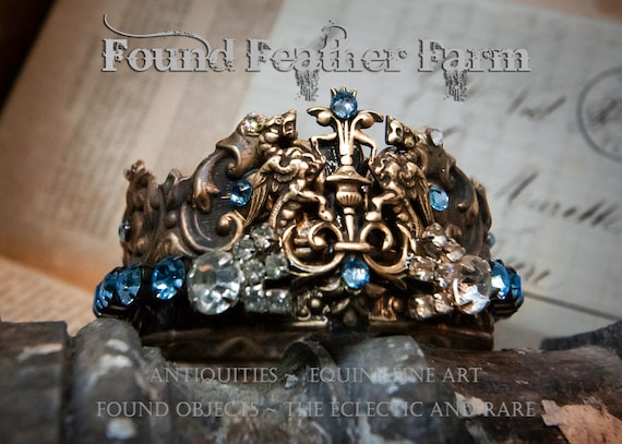 Handmade Brass Crown with Lion's Crest Brass Detail and Aquamarine Rhinestone Jewels and Crystals