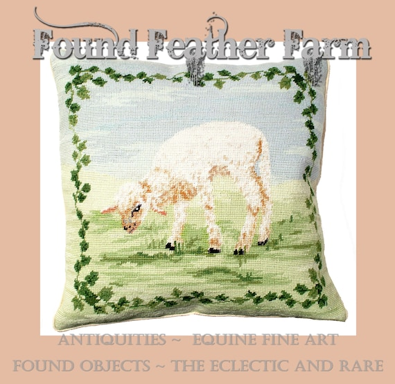 """Handmade 18"""" x 18"""" Wool Needlepoint Pillow of a Newborn Baby Lamb with Down Fill"""