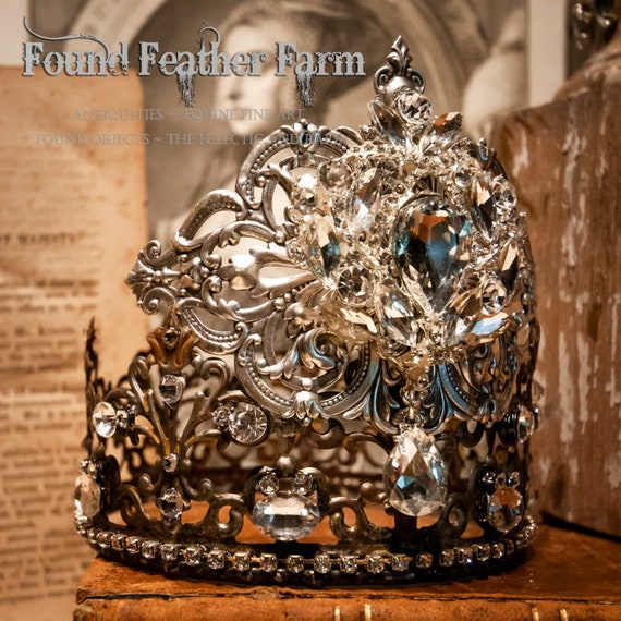 A Stunning Handmade Silver Lace Metal Crown with A Detailed Vintage Jeweled Brooch with a Silver Repousse Crest