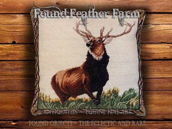 """Handmade Wool 18"""" x 18"""" Needlepoint Pillow of a Majestic English Elk with Down Fill"""