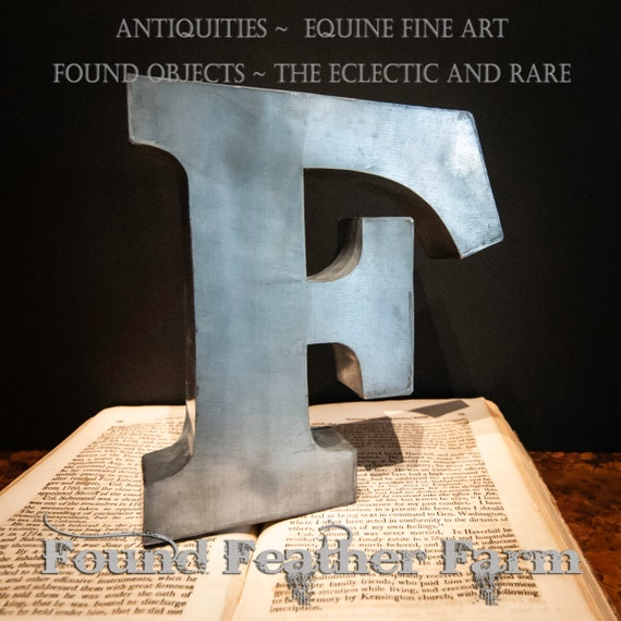 Galvanized Tin Letter F with Wall Mount Slot