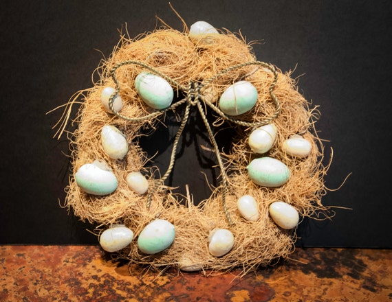 Handmade Fiber Wreath with Wooden Bird's Eggs