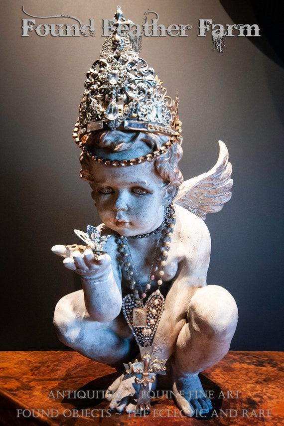 Hand Painted Concrete Resin Angel with a Handmade Metal Crown with Crosses and Jewel Embellishments