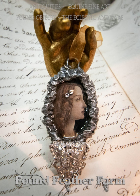 Handmade Gilded Solder Pendant or Ornament Featuring a Jeweled Botticelli Maiden