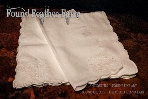Sets of Six Vintage White Battenburg Lace Napkins