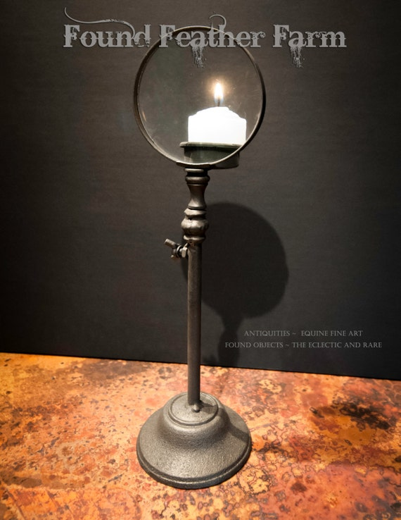 Vintage Iron Candle Magnifier with a Wax Votive Candle