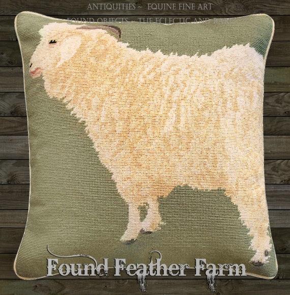 "Handmade Wool Needlepoint Pillow of an 18"" x 18"" English Angora Sheep with Goose Down Fill"