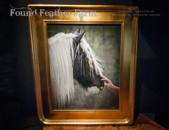 "A Signed Canvas Giclee Equine Photograph ""The Masculine Touch"" with a Magnificent Gold Leaf Frame"