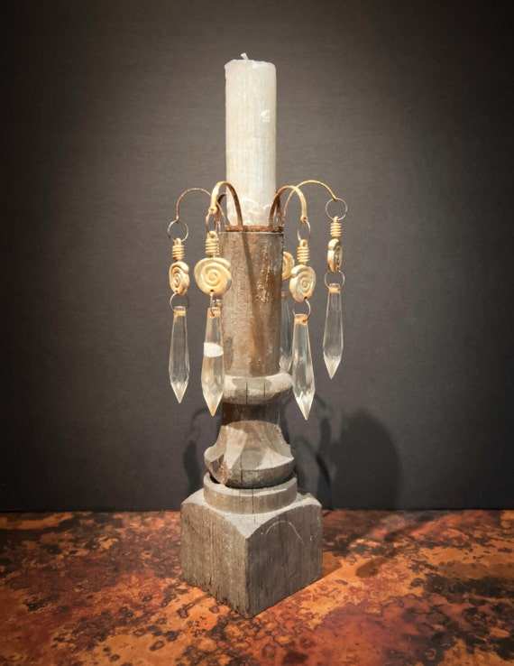 Antique Wooden Ballustrade Candlestick with Crystal Accents
