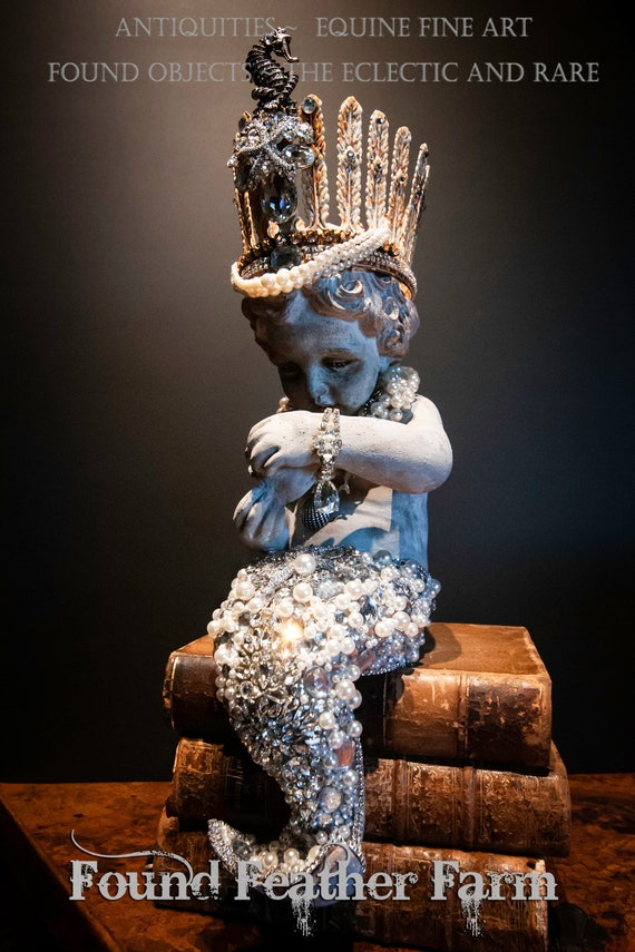 Spectacular One of a Kind Handmade Crowned Jeweled Mermaid Heavily Embellished with Jewels
