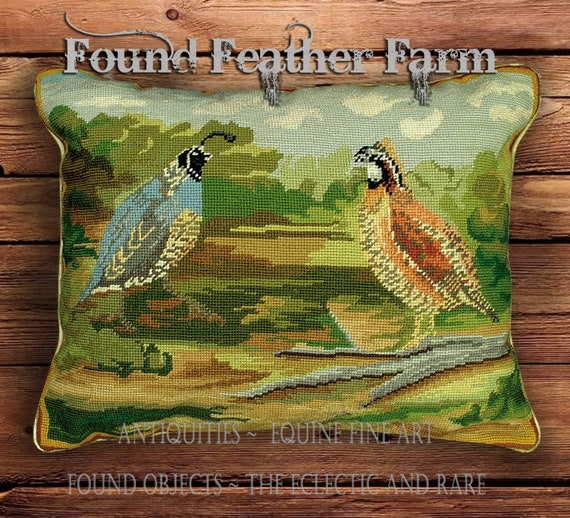 Handmade Needlepoint Pillow of Quail in the Fields with a Down Insert