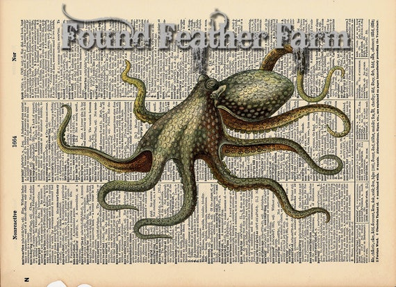 """Vintage Antique Dictionary Page with Antique Print """"Octopus Horizontal"""""""