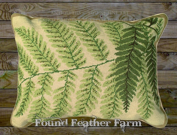 "Handmade Wool 20"" x 16"" Needlepoint Pillow of Beautiful Forest Ferns with Down Fill"