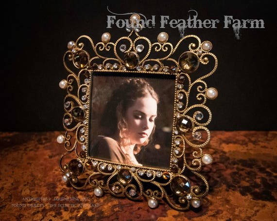 Hand Embellished Jeweled Gold Filigree Pewter Photo Frame