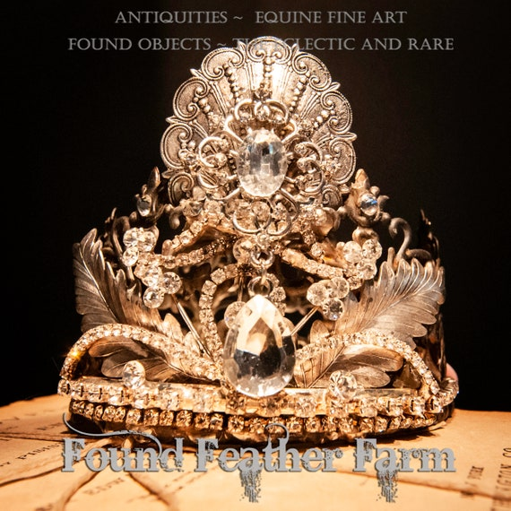 Gorgeous Handmade Crown with a Handplaced Silver Shell Detail, Silver Leaves and Vintage Rhinestone Jewels and Cup Chain
