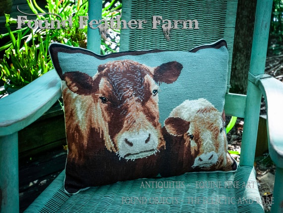 """Handmade 20"""" x 16"""" Wool Needlepoint Pillow of a Cow and Calf with a Down Fill"""