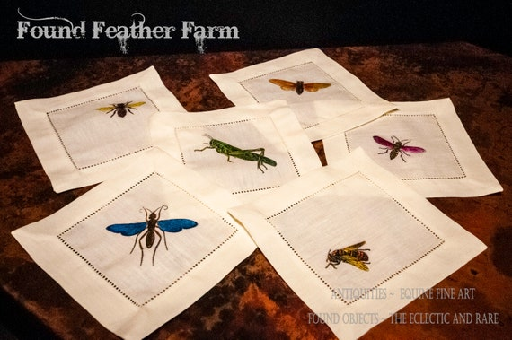 Set of Six Handcolored Hemstitched Insect Cocktail Napkins