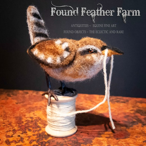 Handmade Needle Felted House Wren on a Vintage Wooden Thread Spool