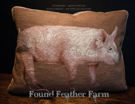 """Handmade Wool 20"""" x 16"""" Needlepoint Pillow of an English Yorkshire Pig with Down Fill"""