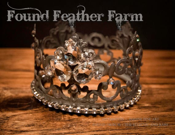 Stunning Medium Handmade Embellished Tin Crown with Vintage Jewels