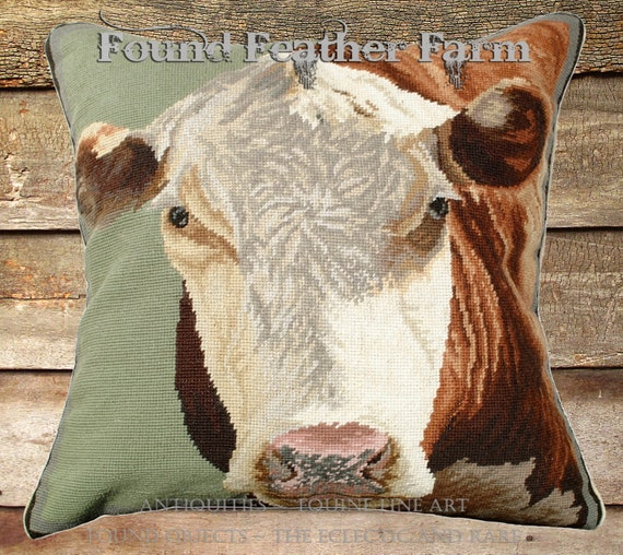 "Handmade Wool 20"" x 20"" Needlepoint Pillow of a Hereford Cow with Down Fill"