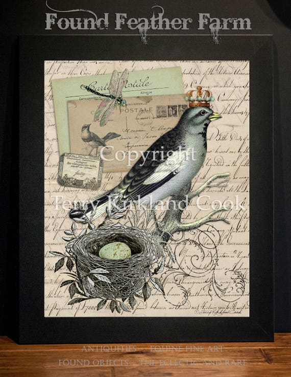 "The Speckled Egg ~ Original Vintage Art Collage 20"" x 24""Framed Giclee Print"