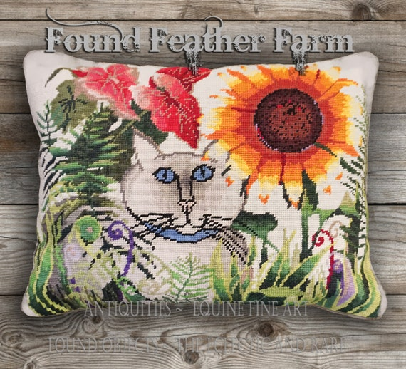 """Handmade Needlepoint Wool Pillow """"Cat in the Garden"""" with Goose Down Insert"""