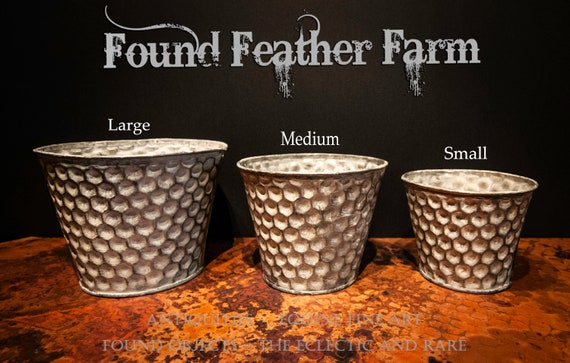 Set of Three Galvanized Tin Honeycomb Pots