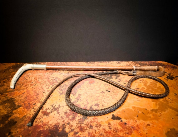 Antique English Leather Riding Crop