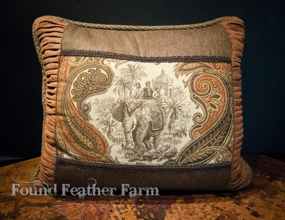 West Indies Elephant Tapestry Pillow
